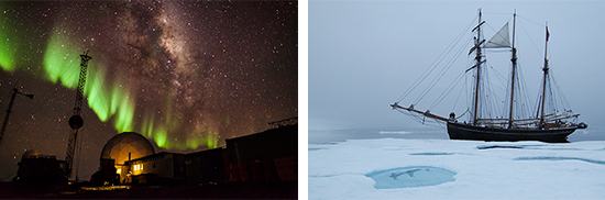 """Photos courtesy of www.banffcentre.ca. Left: A view of Black Island Station, from the film """"Antarctica: A Year in Ice."""" Right: From the film """"Expedition to the End of the World."""""""