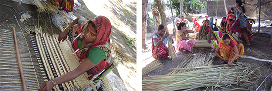 Left: Mats made by the women are sold in Kathmandu, the capital city of Nepal. Right: At the moment, a cottage industry involving 25 women total.