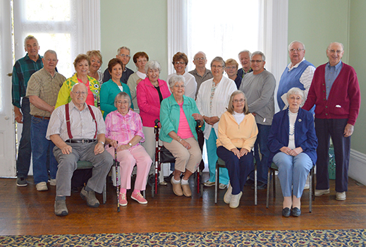 Volunteers from the Chautauqua Lake Rest Area Information Center gather in the Parlor at the Athenaeum Hotel during the 10th Anniversary Commemorative luncheon.