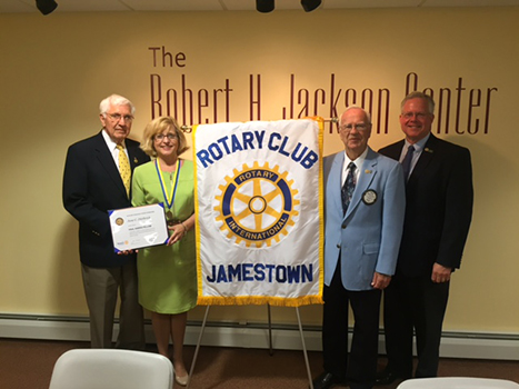 L to R: Russell E. Diethrick, Jr. and June Diethrick, recipients of the Rotary Paul Harris Fellow,  Dudley Ericson, Rotary Membership co-chairman and award presenter and Mike Moots, Rotary President-Elect.