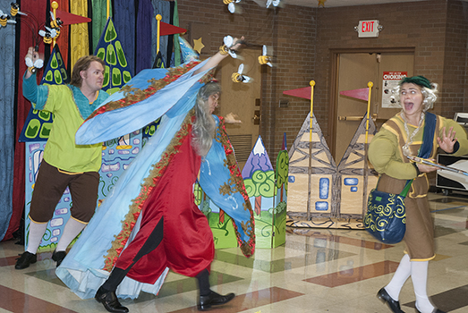 """Performers from the Merry-Go-Round Youth Theater perform """"The Golden Goose"""" for Bush Elementary School first graders."""