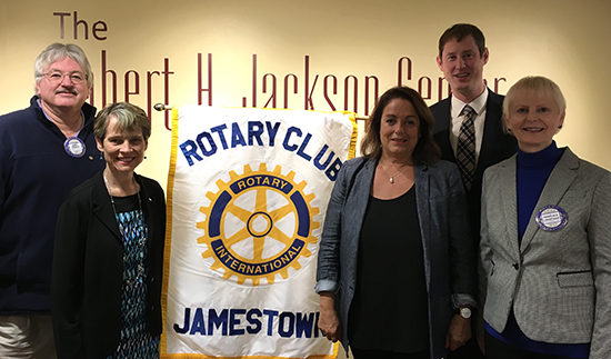 Rotary Club of Jamestown president-elect Gary Padak; Dr. Jean Chamberlain Froese, the founder of Save the Mothers; Mary Harvey, chairman of the Save the Mothers Canada board of directors; John Lampard, a member of the Save the Mothers U.S.A. board of directors; and Rotarian Marijka Lampard.