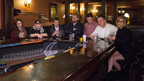 "The cast of ""Last Orders""  from left to right: Giovanna Accordino, Rycheigh Allan, Tyler Stimson, Josh Monroe, Dustin Graziano, Steven Michael Cobb, and Crin Fredrickson."