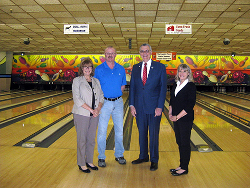 (L to R): Billie Jean Hubert, Interim CASAC Executive Director, Jim Mee, Owner, Jamestown Bowling Co., Vince Horrigan, County Executive, Kathleen Colby, CASAC Director of Training Services
