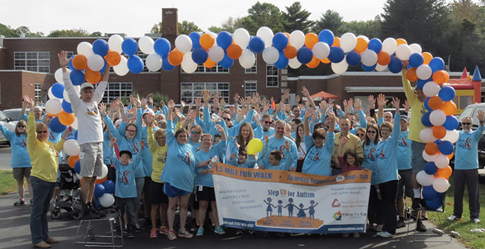Participants get ready to set off on last year's Step Up for Autism walk.