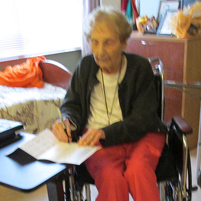 100-year old voter, Louise Tefft with a yet to be marked absentee ballot today in Westfield.