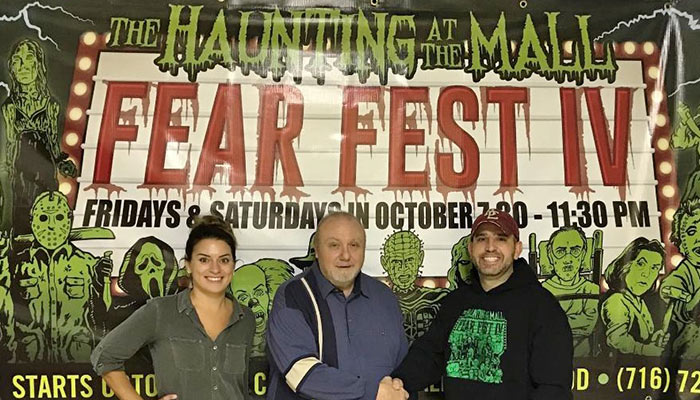 The Haunting at the Mall, presented by Scott Mekus of Eventz by Scott, donated to the Chautauqua County Humane Society for the fourth consectutitve year.   (L to R): Hannah Braun, CCHS Director of Community Relations, Jeff Lubi, CCHS exectuive director and Scott Mekus, director of The Haunting at the Mall.