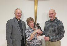 "L-R: Pastor Daniel K. Nagle, Debi Brandi, ""Snoopy"", and Lee Lindeman"