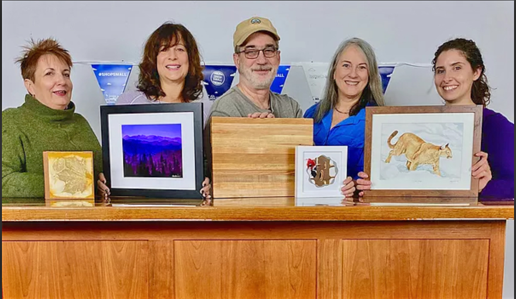 Area artists collaborate on POP-UP Gallery Event. From left: Deb Eck of Jamestown, NY; Karen Glosser of Chautauqua, NY; Bill Bale and Wendy Bale of Jamestown; and Kimberly Turner of Warren, PA will display their works November 30, 11a.m.-6p.m. at Sandhill Designs 149 Frissell Road, Jamestown.