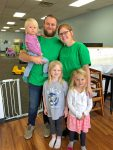 Colin and Sarah Myers (owners of Tots Café) with their daughters Brea, Avery, and Cora.