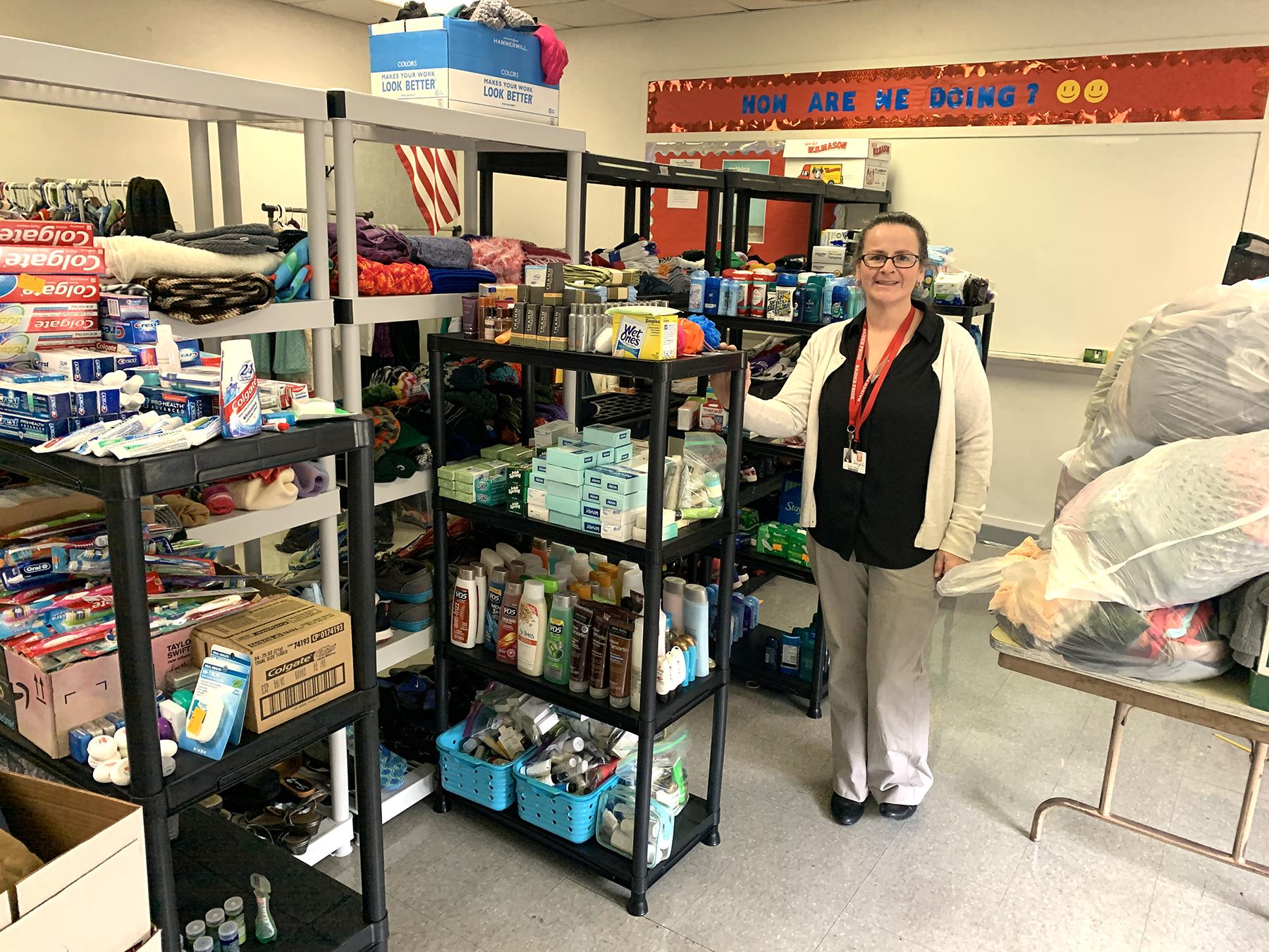 JHS Behavior Specialist, Bonnie Schnar, in the JHS Closet.