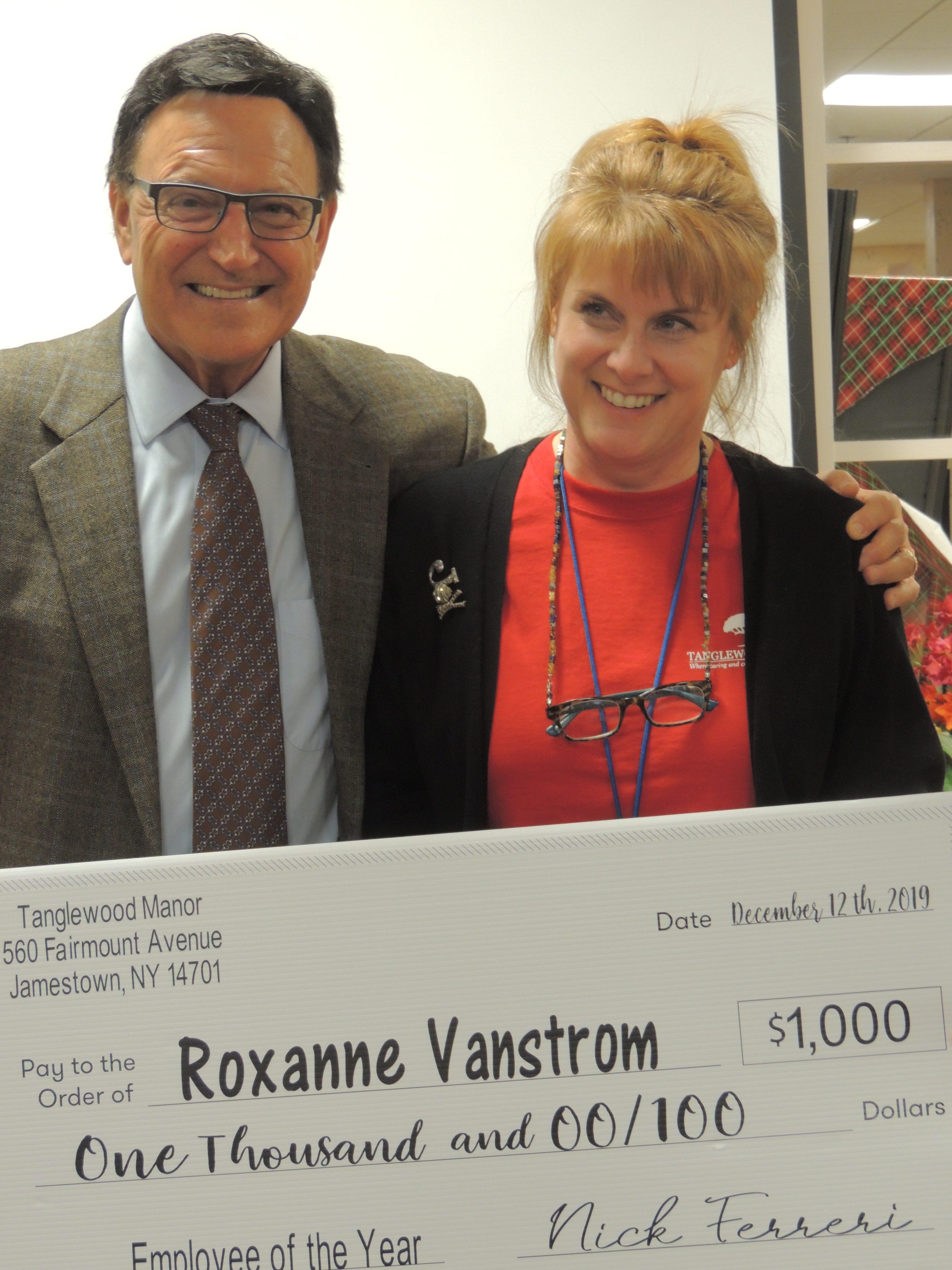 Nick Ferreri and Jamestown Campus Employee of the Year, Roxanne Vanstrom.