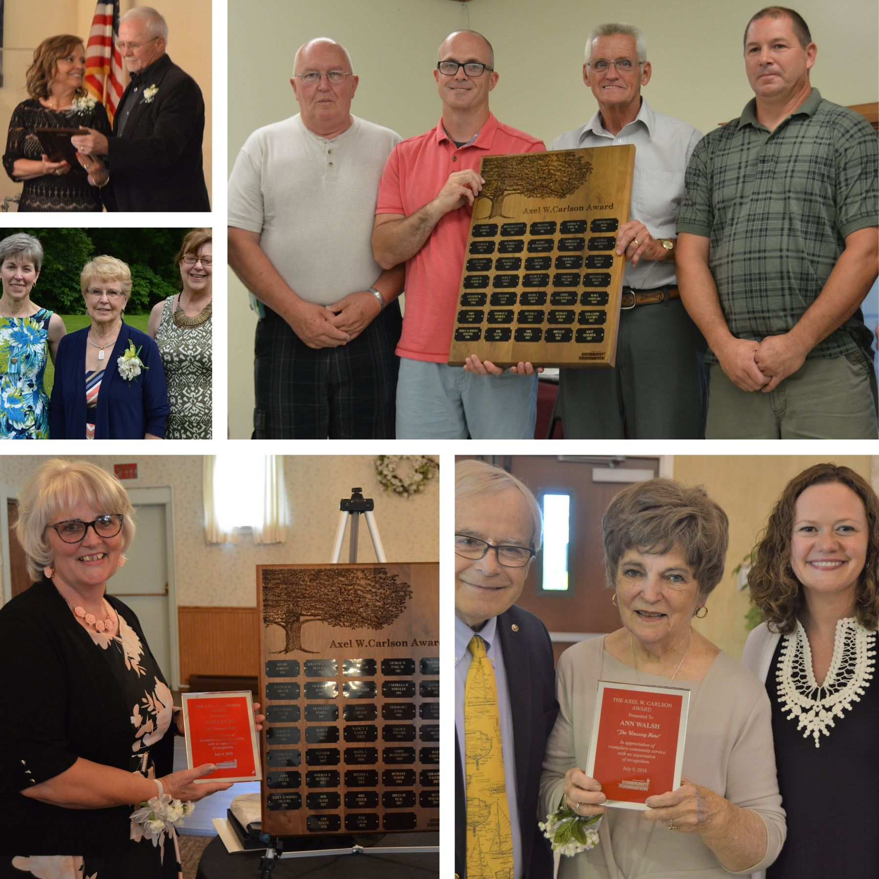 Past Unsung Hero Award recipients include, clockwise from left, Jerry and Norma Eklund; Bob Crane, Joel Fisher, Doug Neal and Matt Oehlbeck; Ann Walsh; Pam Lucas; and Jeri Yauchzy.