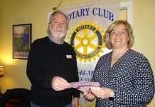 John Hamels, PH.D., Westfield Mayville Rotary Club President, Welcomed Karen Surkala, Westfield Memorial Hospital (WMH) President, as the guest program presenter during the Feb. 18 Westfield-Mayville Rotary Club meeting at the Parkview in Westfield. They are holding some of the breast cancer early detection shower cards taht were recently donated to WMH by this Rotary Club. Surkala discussed highlights of the WMH's 2019 year.