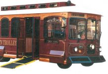 An example of a trolley shaped bus that the County could purchase with these grant funds.