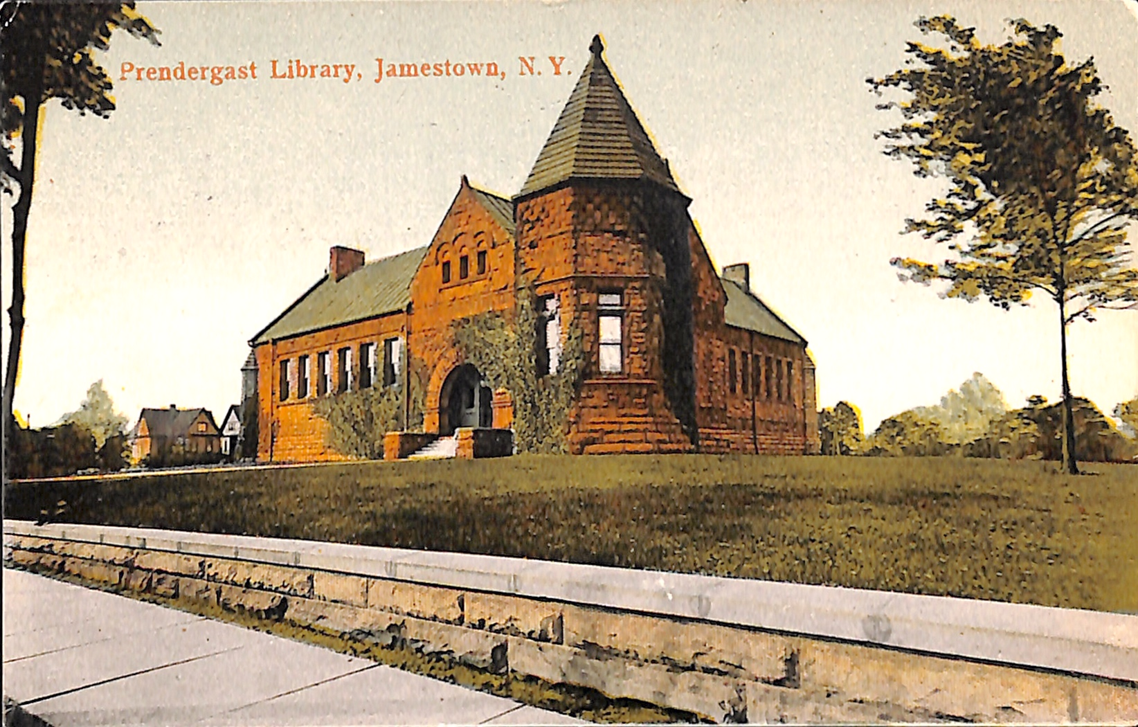 An early 1900s era postcard of the James Prendergast Library facility.