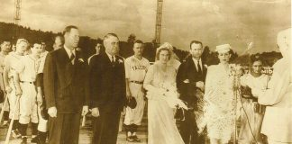 Umpire Ross Badger of Gastonia, NC, married his hometown sweetheart, Lucy Hubbard, at home plate on July 10, 1945.