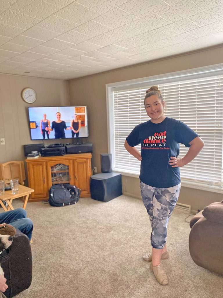 Expressions Performing Arts Center, Amanda Spak continuing to dance at home.