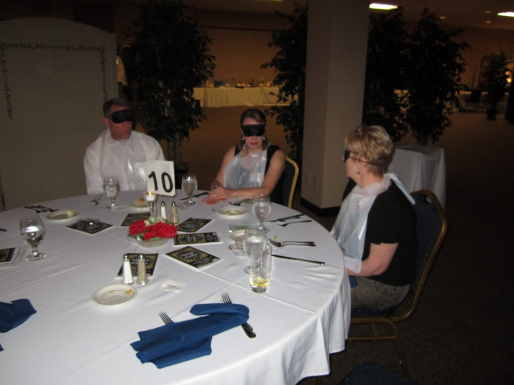 Dinner guests at the annual 'Dining in the Dark' Event.