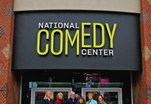 National Comedy Center executive director, Journey Gunderson; Chautauqua Region Community Foundation board members, Laura Otander, Don Butler, Lorraine Diggs and Carol Hay; and CRCF executive director, Tory Irgang, pose outside of the National Comedy Center.