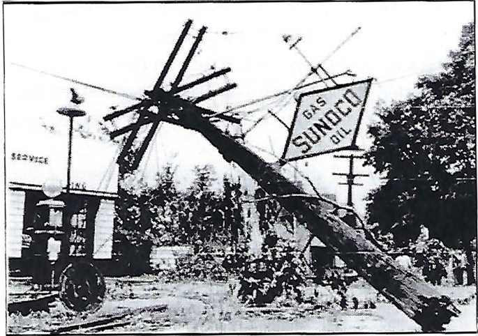 The 1945 tornado damage on Derby Street looking east from S. Main Street