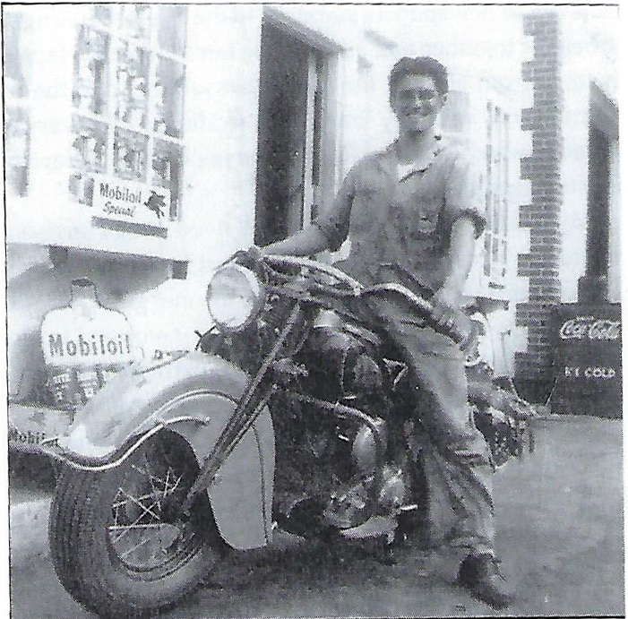 Joe Reale, age 23, on 1941 Indian motorcycle, Fenton Park Service, 1951 (Courtesy Joe and Alma Reale)