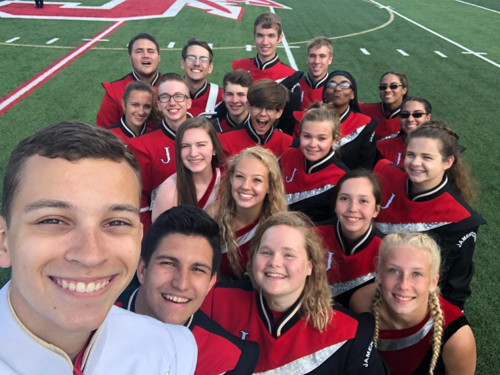 Marching Band Seniors happily enjoying their time together
