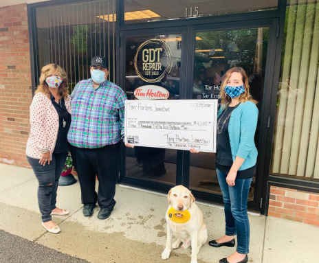 From left: Brenda, Blake & Jeter Tarana all of Tim Hortons Jamestown, Amy Rohler Executive Director of United Way of Southern Chautauqua County.