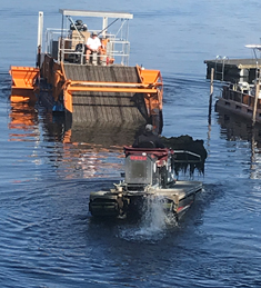 CLA harvester assisting Town of Chautauqua Mobitrac with near-shore cleanup.