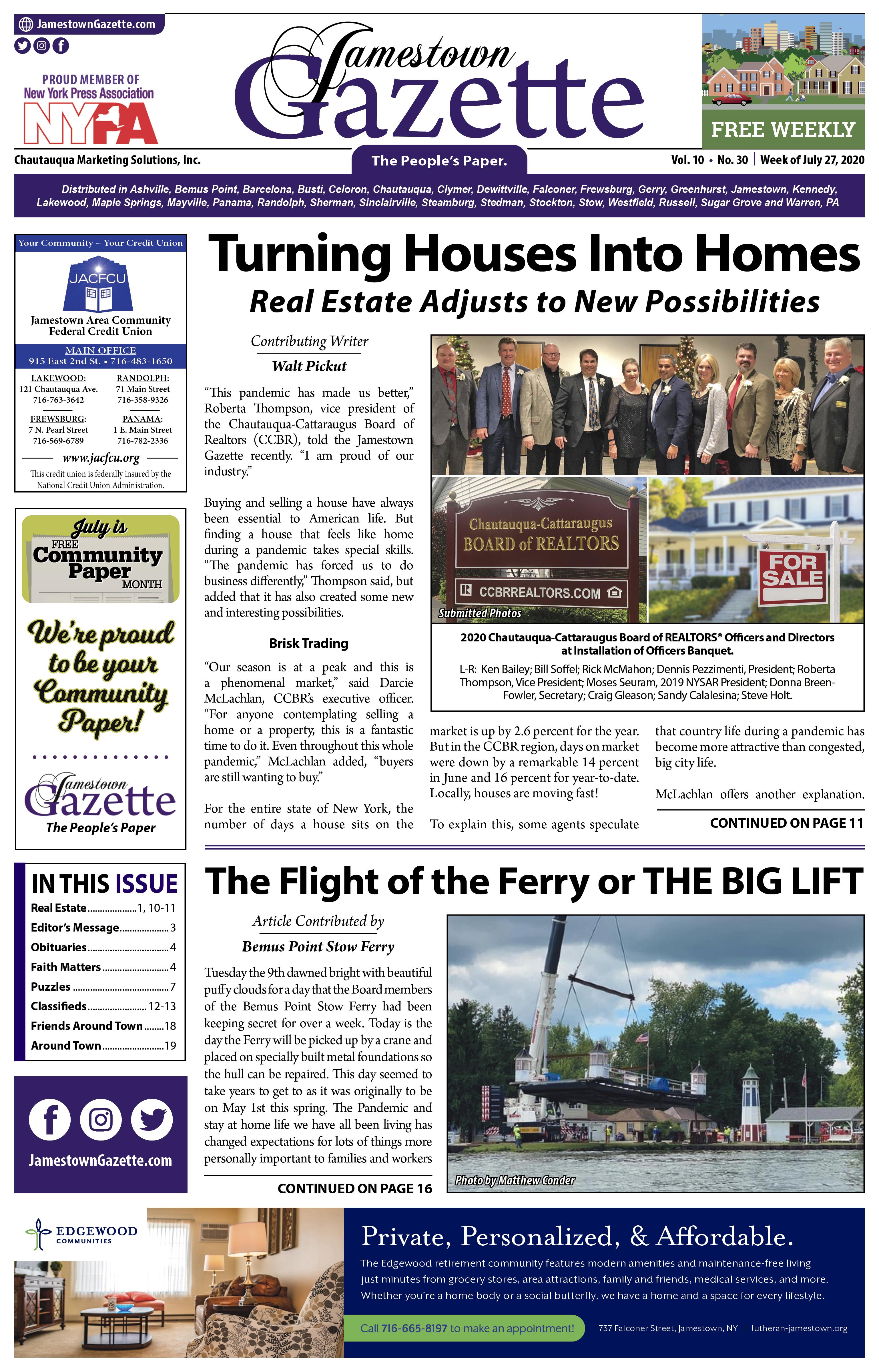 Jamestown Gazette front page 7-27-2020