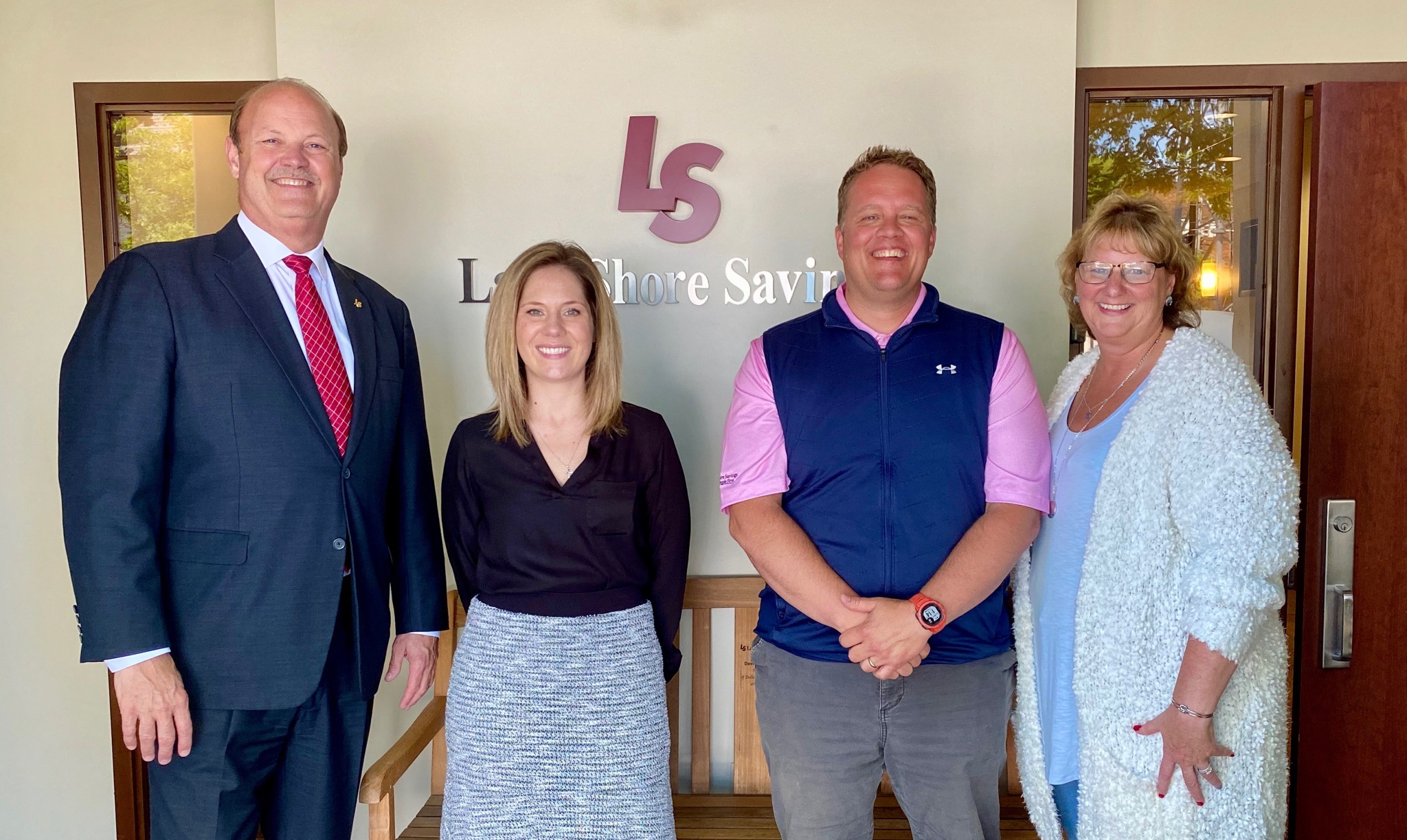 Pictured (l to r) – Daniel Reininga - President and Chief Executive Officer - Lake Shore Savings Bank, Kelly Dimitri - Chief Financial Officer – The Resource Center, Chris Anderson – Marketing Manager/TRC Golf Classic Chairman – The Resource Center, and Cindy Hitchcock – Vice President – Filling the Gap Inc.