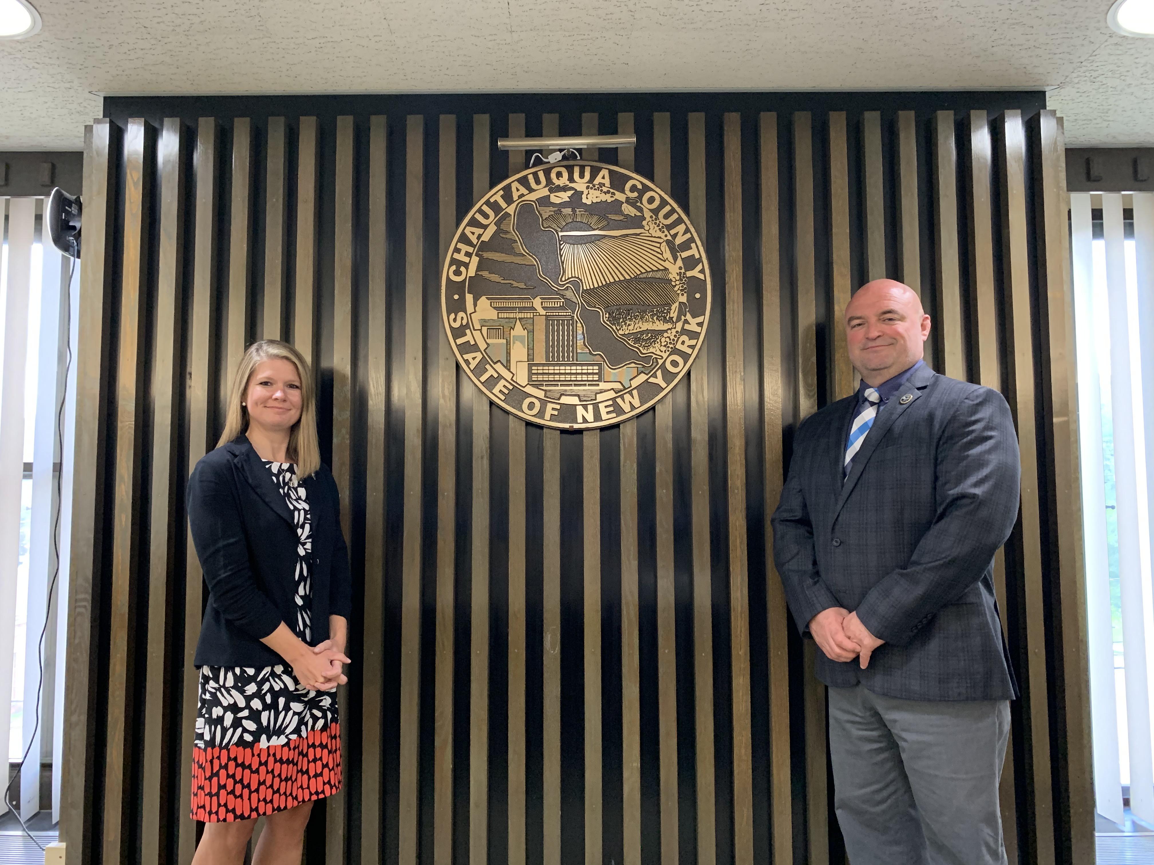 Outgoing Chautauqua County Human Resources Director Jessica Wisniewski (left), and Chautauqua County Executive PJ Wendel (right).