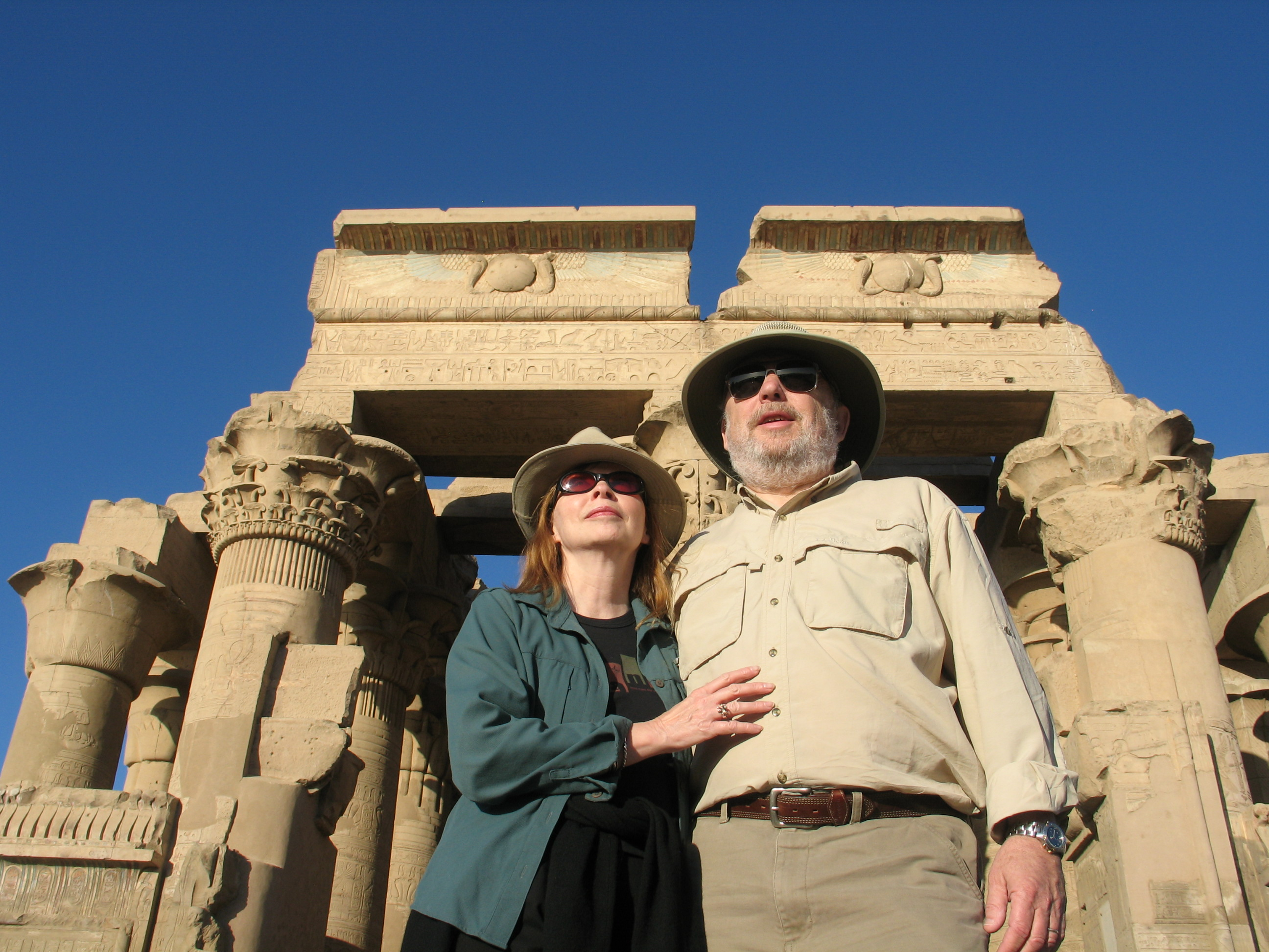 Karin and Herb Meiselman standing in front of an Egyptian structure.
