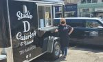 Diana Scott, owner with her husband Dana, of Studio D Carering. New food wagon serves Downtown Jamestown with relaxing, tree-shaded lunch tables and takeaway meals.