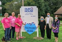Members of the Breast Cancer Support Group of Jamestown recently presented CHPC with a $5,000 challenge gift. Left to right: Joyce Seekins, ten-year survivor; John Smith, one-year survivor; Pat Carr, 27-year survivor; Mary & Bert Rappole, Our House Campaign Chairs; and Shauna Anderson, CHPC President & CEO.