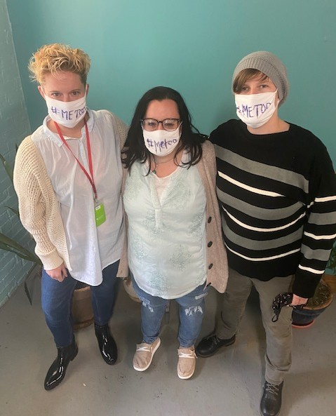 The #MeToo Support Group meets Mondays at 5:30 p.m. in Jamestown's Gateway Center under the guidance of staff members (from left) Allison Murphy, Jenny Rowe, and Tasha McFaul.