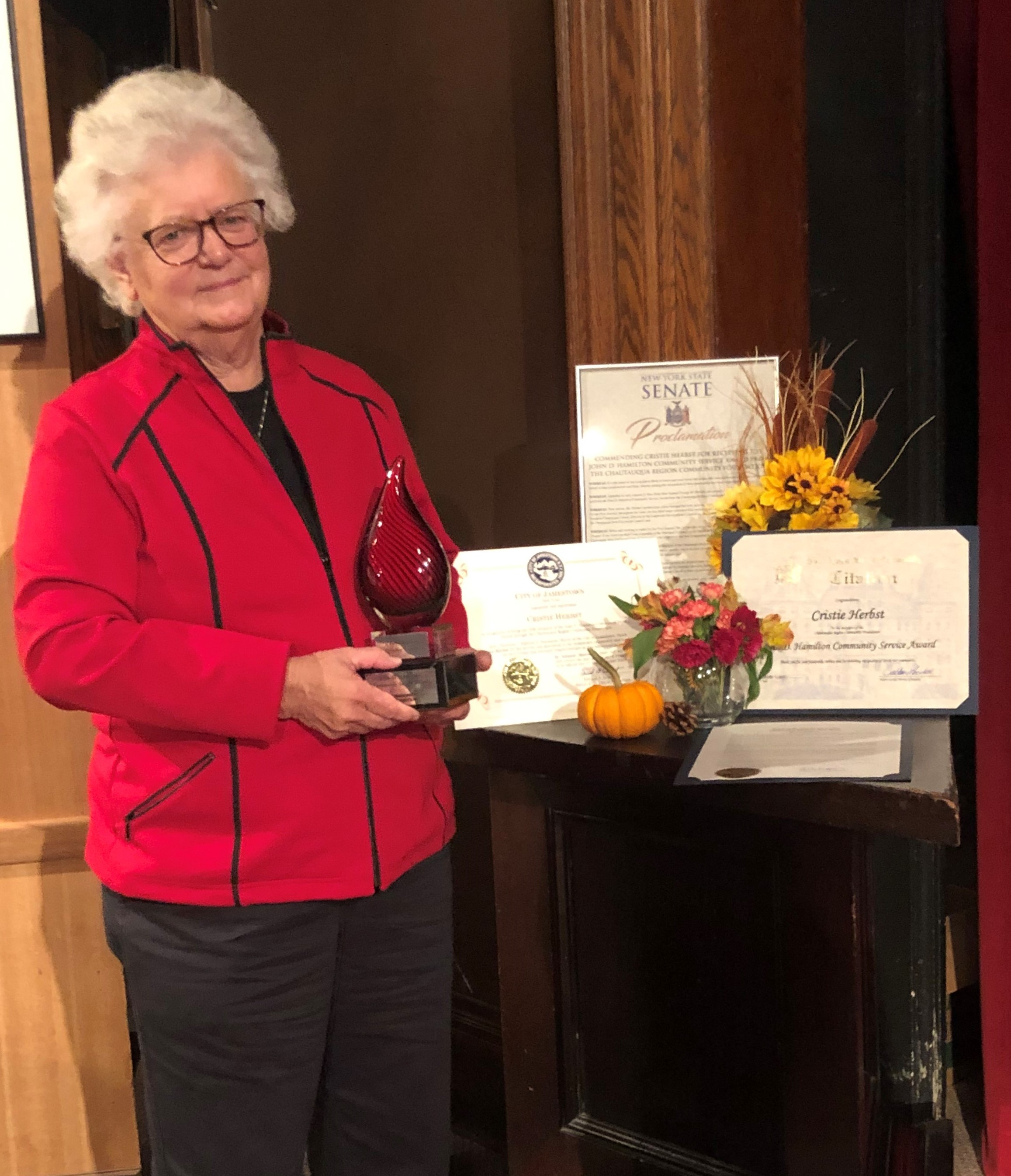 The Chautauqua Region Community Foundation recently presented its annual Community Service Award to Cristie Herbst.