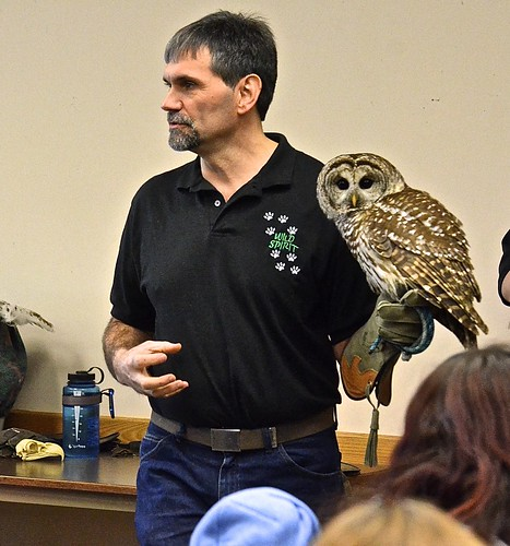 Wild Spirit Education, a wildlife education and rehabilitation organization based in Delevan, N.Y., will be at Audubon Community Nature Center on Saturday, November 14, 2020. Pictured is Wild Spirit founder and Executive Director Paul Fehringer with a Barred Owl.