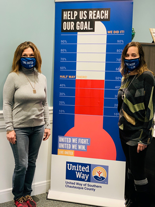 Pictured left to right is 1 of 28 campaign chair's, Kathy Grace and Amy Rohler, Executive Director of United Way of Southern Chautauqua County.