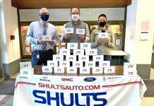 JHS Principal Dana Williams and Matthew Kahm and Jillian Shults from Shults Auto Group