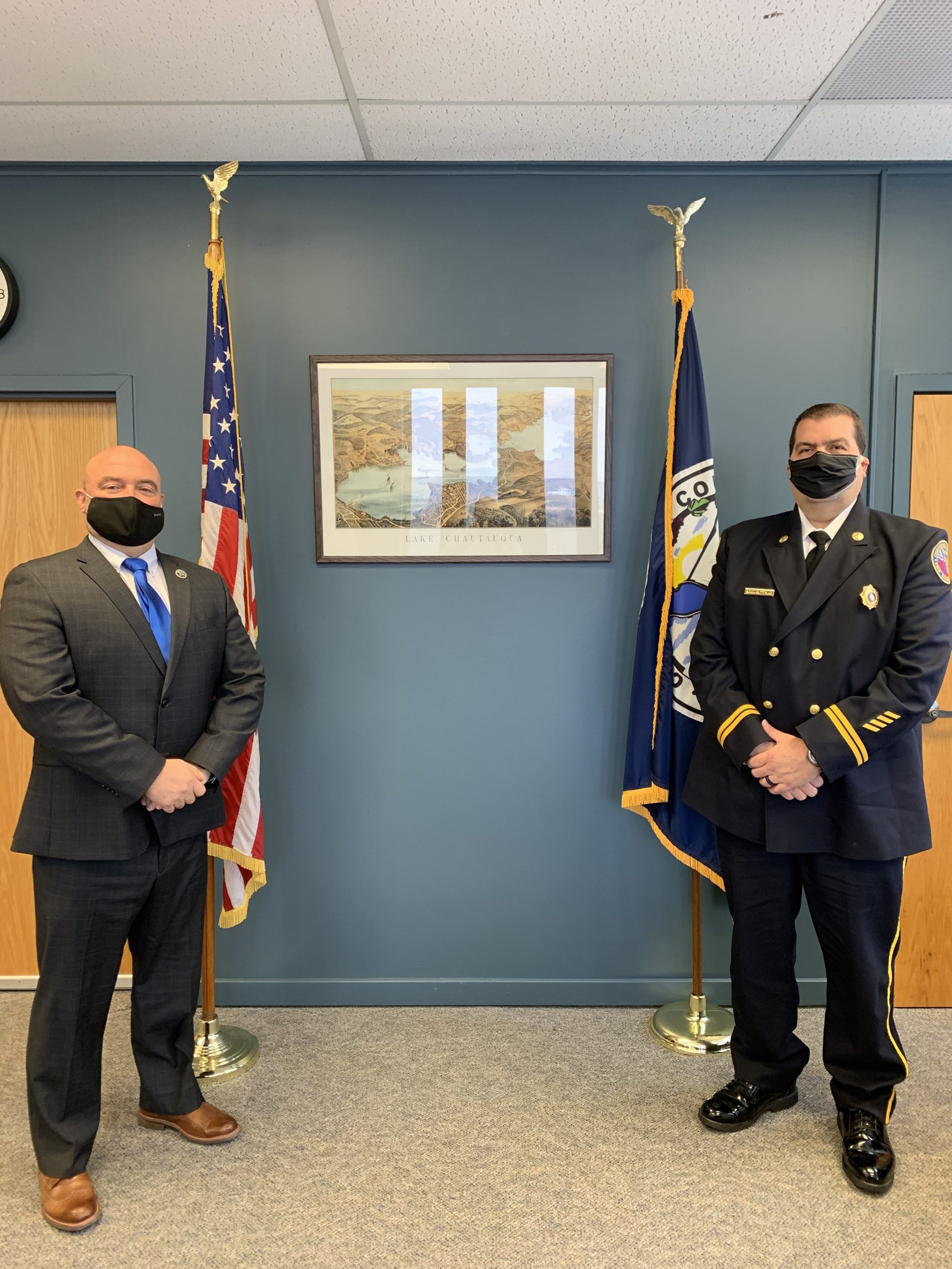 Chautauqua County Executive PJ Wendel (left) welcomes Noel Guttman as the County's next Emergency Services Director.